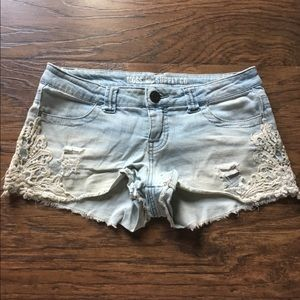 Lace Faded Blue Jean Shorts